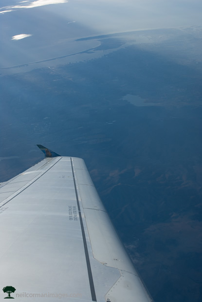Aircraft Wing after Takeoff from San Diego