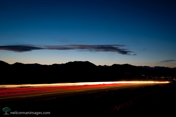 Traveling from Boulder Colorado at Sunset