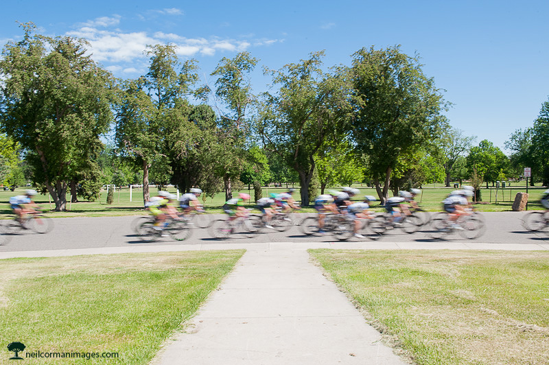 Bicycles in City Park during a criterium in Denver