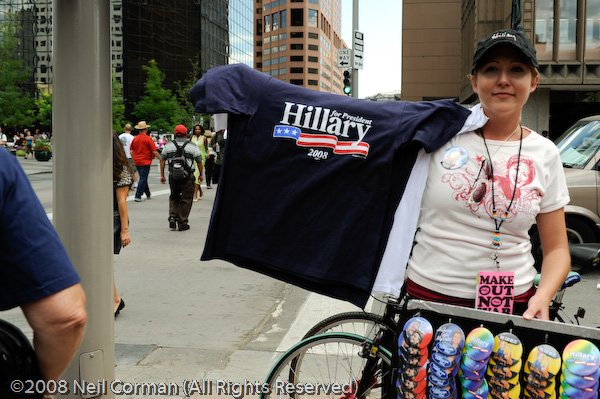 Woman selling Hillary items at the DNC