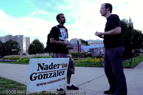 A Ralph Nader supporter discusses the issues at Civic Center Park
