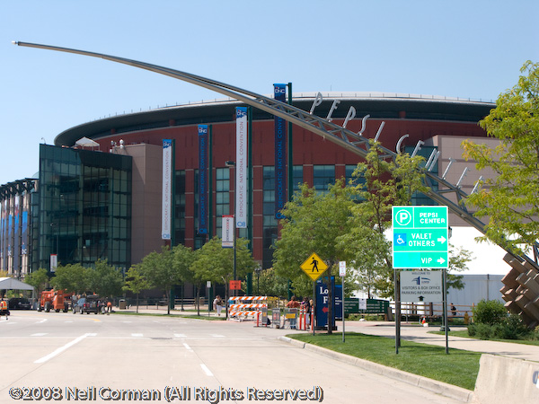 Approaching the Pepsi Center during the DNC