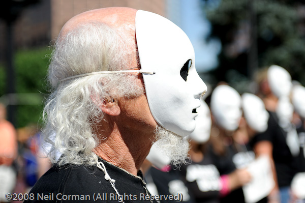 Protesters dawn faceless masks to spread their message