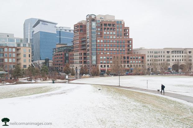 December Snow at Commons Park in Denver
