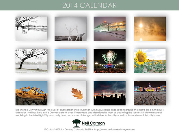 2014 Denver Calendar - Back