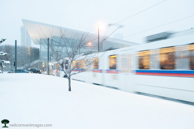 Light Rail near the Colorado Convention Center during a snowfall