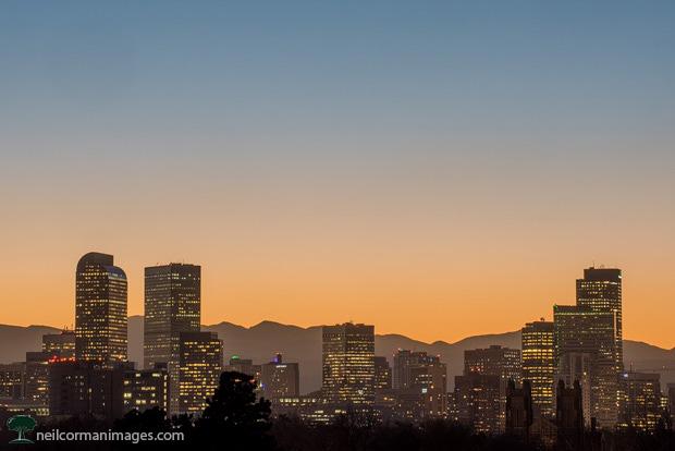 Denver Skyline from City Park at Sunset