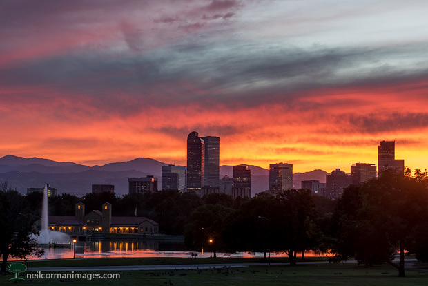 September Sunset in Denver from City Park