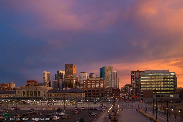 Denver Skyline at Dusk with clouds