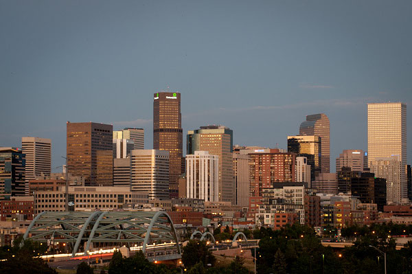 Centurylink in the Denver Skyline at Dusk