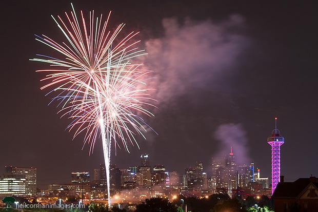 Fireworks over the Denver Skyline