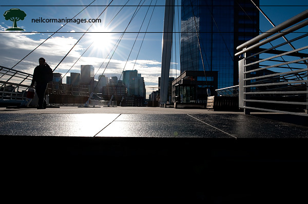 Denver Skyline from Millennium Bridge in the morning
