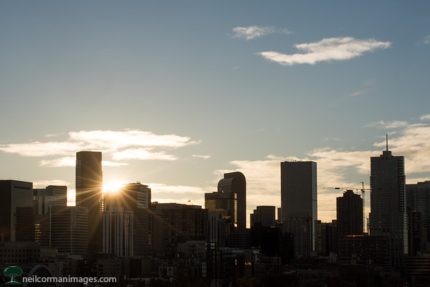 Sunrise over Denver Colorado