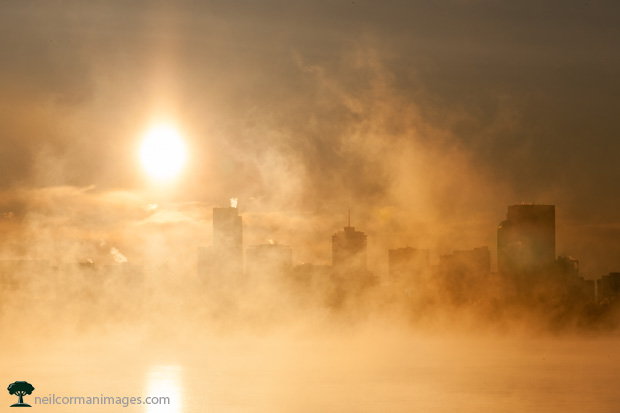 Sloans Lake and Denver in the Fog