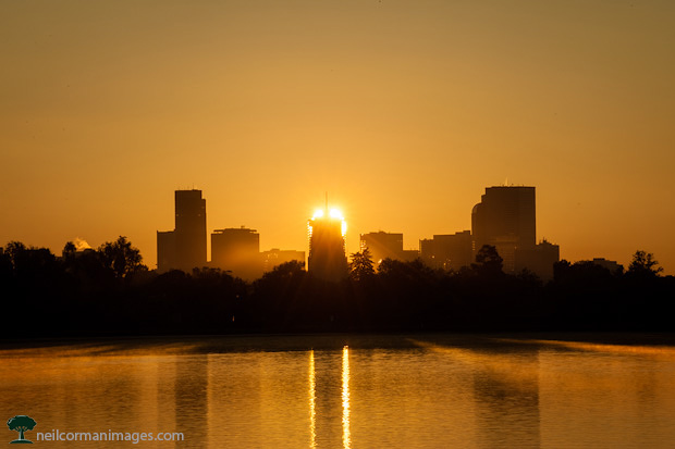 Sunrise from Sloans Lake in Denver