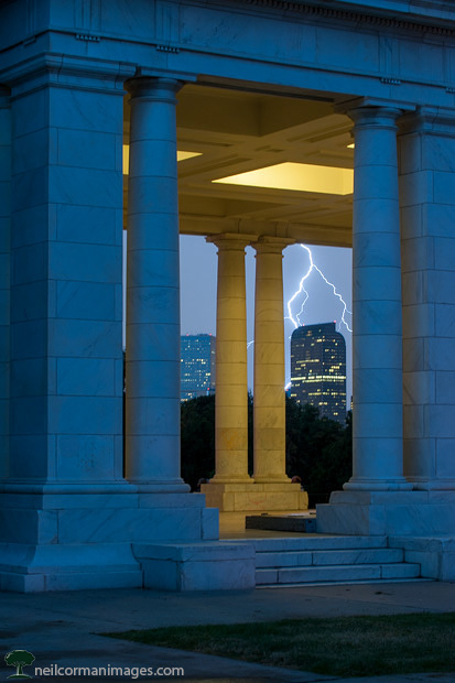 Downtown Denver from Cheesman Park during a storm
