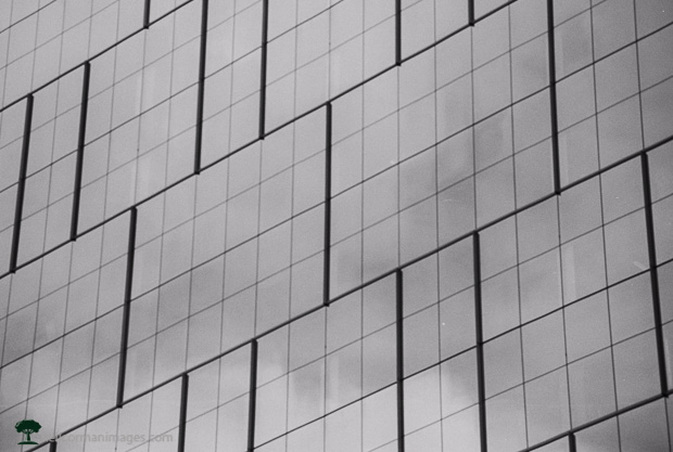 Downtown Denver Reflection - Black and White