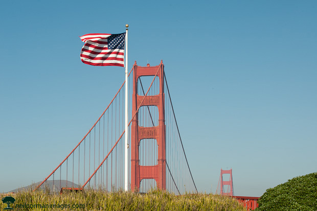 Flag at San Francisco Golden Gate Bridge