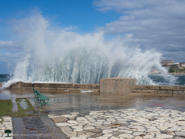 Waves crashing along the Malecon in Havana