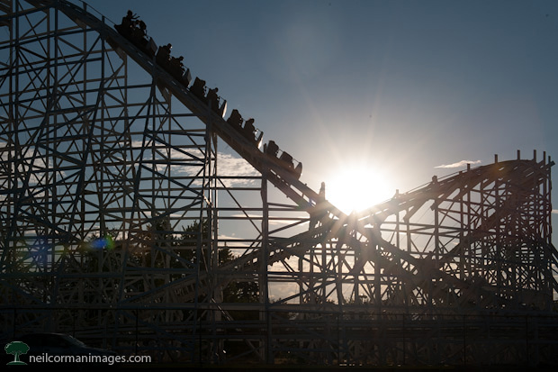 Lakeside Colorado Cyclone Roller Coaster in the afternoon sun