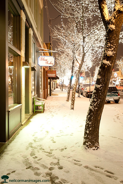 Downtown Littleton Colorado during Snowstorm