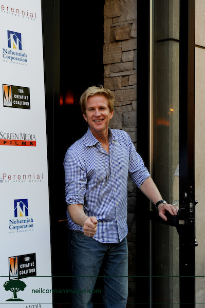 Matthew Modine at the door to Earls in Denver during the DNC