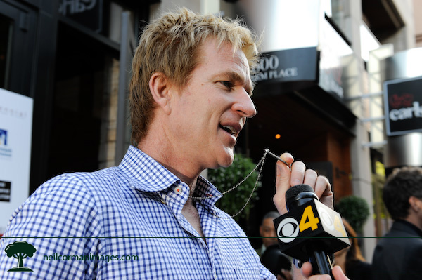Matthew Modine talks to the media while in Denver during the Democratic National Convention