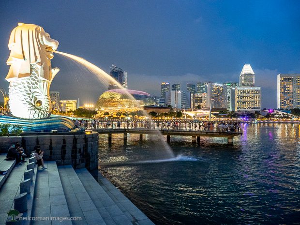 Merlion at Dusk in Singapore