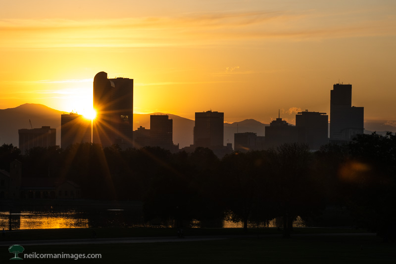 October Sunset in Denver, Colorado from City Park