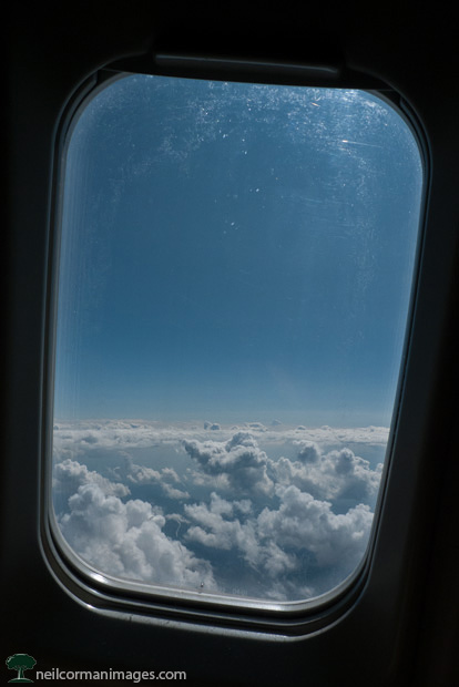 Looking out a airplane window