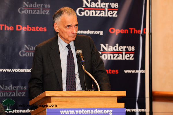 Ralph Nader talks to the media in Denver