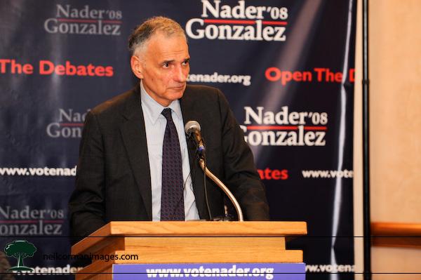 Ralph Nader talks to the media in Denver