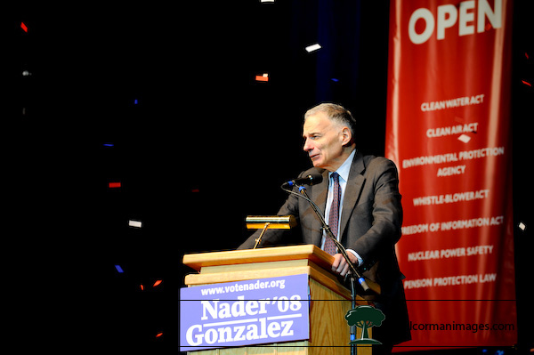 Ralph Nader speaks at a Super Rally in Denver