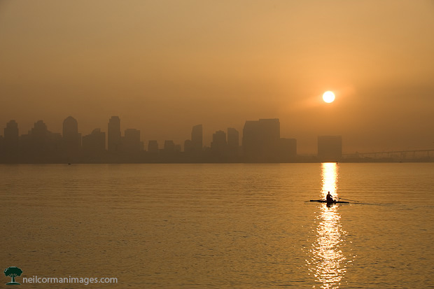 San Diego Morning - Rowing in the Harbor