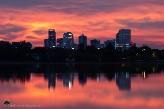 Colorful Sunrise over the City of Denver on a September morning