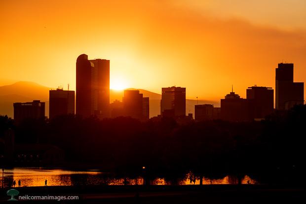 Smoky Denver Sunset from City Park