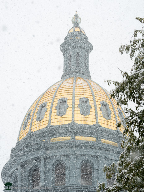Snow at the Colorado State Capitol Dome