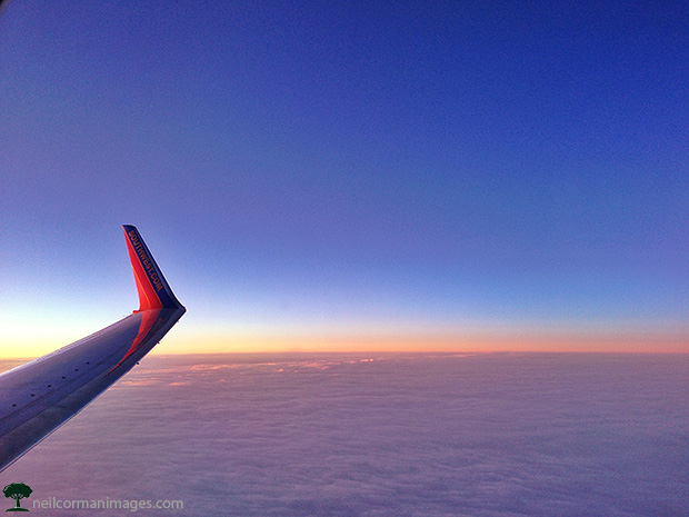 Sunset above the clouds on a Southwest Airlines flight