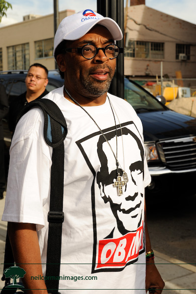 Spike Lee in Denver showing off his Obama gear during the DNC