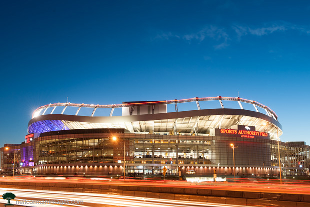 Sports Authority Field at Mile High at dusk