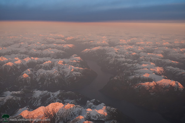 Sunset over Coast Mountains in Canada