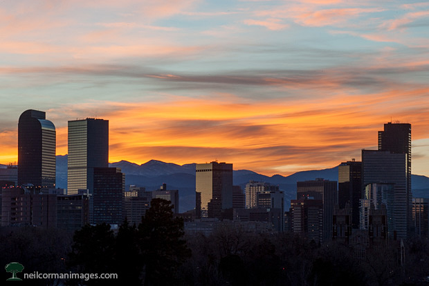 Sunset over Denver from City Park