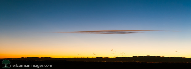 Sunset along the mountains of Colorado near Denver