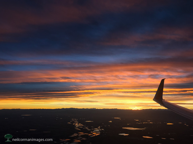 Sunset over Colorado from a Plane