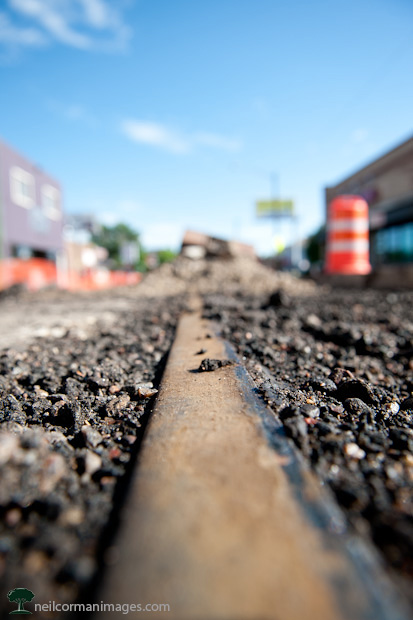 Trolley Tracks along Tennyson Street in Denver