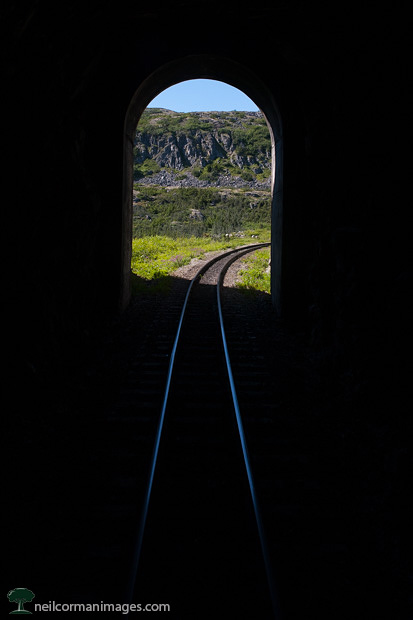 Train Tunnel along the White Pass & Yukon Route Railroad