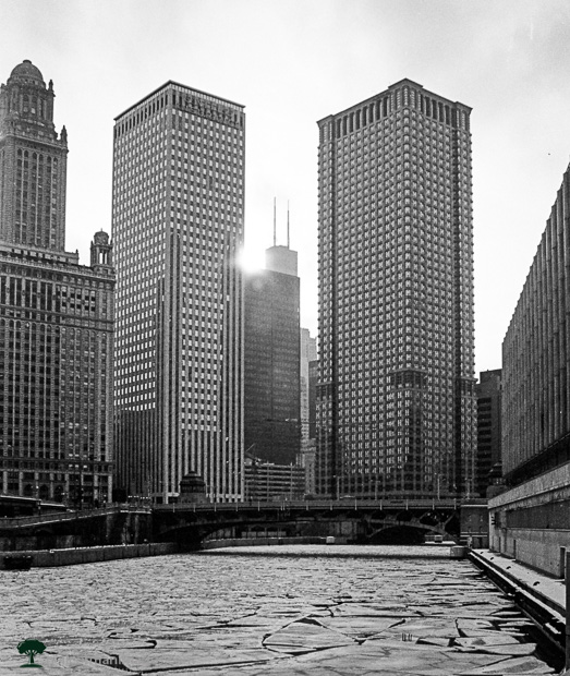 Chicago River in 1990 and Downtown Chicago